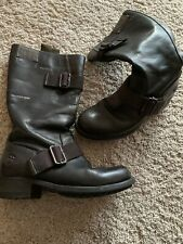 Ladies Size 4 Black Calf Leather G-Star Raw Boots Pre Owned