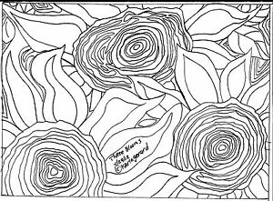 RUG HOOKING CRAFT PAPER PATTERN Three Blooms ABSTRACT Primitive FOLK ART Karla G