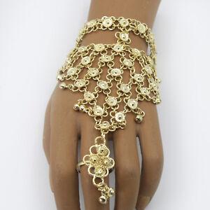 Handschmuck Glöckchen Messing Sklavenarmband Bollywood Bauchtanz Gold