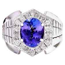 Purplish Blue Oval Cut 4.52CT Tanzanite With Shiny White CZ Men's Wedding Ring