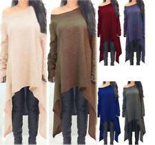Damen Pullover Pulli Strickkleid Kleid Longshirt Asymmetrie Oversize Jumper