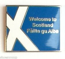 The M6 Motor Way Welcome to Scotland Road Sign as an Enamel Lapel Pin Badge