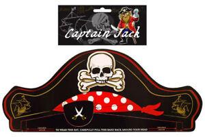 12 Pirate Paper Hats - Pinata Toy Loot/Party Bag Skull Black Pinata Black Kids