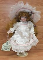 Dynasty Doll Collection Bridget Porcelain Doll With White Dress & Hat! **READ**