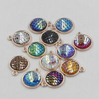5/20Pcs Rainbow Resin Fish Scale Charm Pendant Jewelry Findings Crafts DIY 12mm