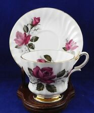 Vintage Queen Anne Bone China Tea Cup & Saucer Red Roses & white Floral