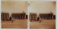 Italia Roma Posto San Pierre Vaticano Foto Stereo 7x13cm Targa Di Vetro 1935