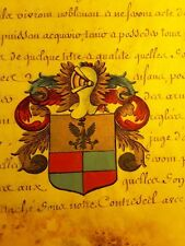 KING LOUIS XV Signed REDISCOVERED PATENT: Ennoblement Coat of Arms Painted 1755