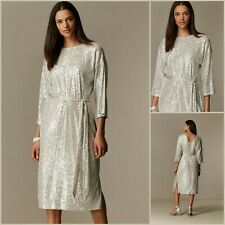 Wallis Dress Size 14 | Oyster Sequin Belted Midi Style | BNWT | £80 RRP | New!