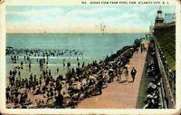 Ocean View From Steel Pier Atlantic City New Jersey NJ Bathers 1920's Postcard