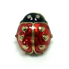 Tac Pin Gold Red Black Crystal 2005 Avon Love Bug Ladybug Ladybird Beetle Enamel