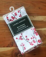 Laura Ashley Set of 4 Napkins Berry Christmas White & Holiday Red Holly Berries