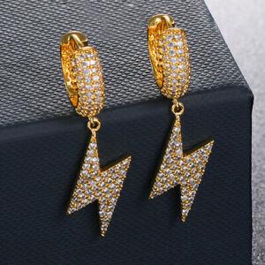 Hip Hop Charm Hoop Earring Full Shining Zircon 18K Gold Plated Drop Earring