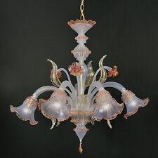 Lampadario In vetro di Murano 5 luci Opalino oro rosa