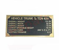 Dashboard Vehicle Trunk Plaque Data Plate Brass Made For Jeeps Ford  AUD