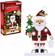 Christmas Time Light Up Santa Wooden Figure with 10 LED Lights Red White Green