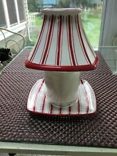 Yankee Candle Plate And Shade Top  Red and White striped