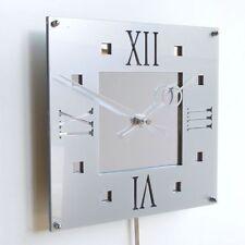 Roco Verre Déco Vintage Moderne Pendule Horloge Murale Brillant Argent