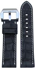 24x22 RIOS1931 for Panatime Black Nubuk Alligator Watch Strap with White Stitch
