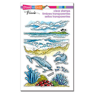 DOLPHIN OCEAN BEACH SCENE CLEAR Rubber Stamp Set STAMPENDOUS SSC2030 New