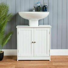 Bathroom sink cabinet under basin unit cupboard organizer white shelf storage