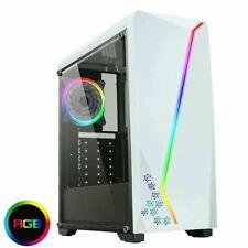 CIT c6063 weiß Gaming PC Gehäuse Midi ATX RGB Strip 12cm Rear Fan Acrylglas UK