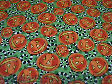 3 Yards Quilt Cotton Fabric - ITB Not So Spooky Halloween Pumpkins on Green
