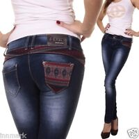 255 SEXY SKINNY STRETCH LOW RISE JEANS BLUE WASHED PANTS UK 6 - 14