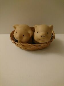 Pair Of Pig Ornaments In A Basket