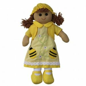 Personalised Powell Craft Yellow Bumble Bee Dress Rag Doll - Child's Fabric Doll