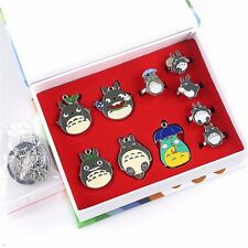 10pcs Studio Ghibli My Neighbor Totoro Metal Pendant Ring Keychain Chain Set
