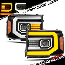 [Sequential Signal]For 2007-2014 GMC Sierra LED DRL Black Projector Headlights