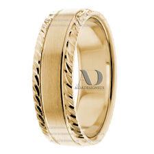 Fluffy Pattern Edges & Plain Satin Center 7 mm Solid 14K Gold Wedding Ring