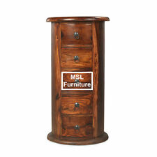 Solid Wood Round Side & End Tables with Drawers