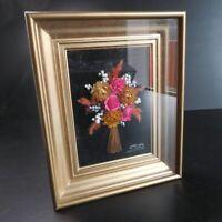 Tableau composition florale murale fait main signature SB art nouveau N4861