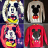 Womens Mickey Mouse Pullover Sweatshirt Sweater Round Neck Long Sleeve T-Shirt