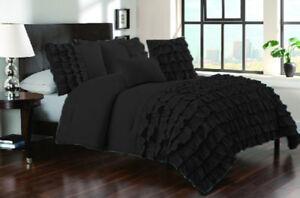 Egyptian Cotton 800TC Half Ruffle Duvet Cover Set All Size & Color