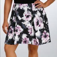 TORRID Purple Black Floral Watercolor Skater Skirt Plus SIZE 1 or 1X ~ LN ~