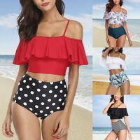 NEW Women Retro Ruched Flounce Bikini High Waist Printing 2 Pieces Bathing Suit