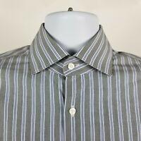 Hugo Boss Regular Fit Mens Gray White Striped Dress Button Shirt Sz 15.5 32/33