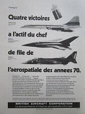 9/1970 PUB BRITISH AIRCRAFT CONCORDE TORNADO JAGUAR INTELSAT BAC129 ORIGINAL AD