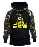 Men's Don't Tread On Me Camo/Black Raglan Hoodie Sweater USA Flag Military Army
