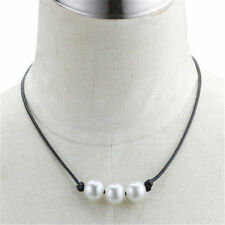 Fashion Women Black PU Leather Chain Cord Pearl Pendant Choker Necklaces Jewelry