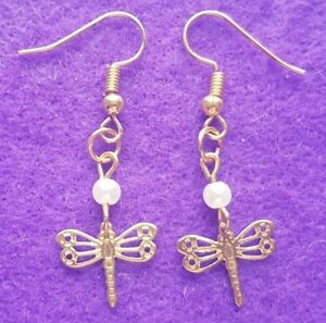 Gold Plated Dainty Dragonfly and Pearl Bead Drop Dangle Earrings  Gift Bagged