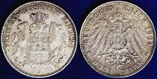 3 MARK 1909 J AMBURGO HAMBURG GERMANIA GERMANY ARGENTO SILVER #282