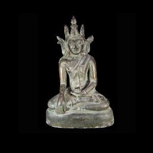 A Burmese Arakan bronze statue of the seated Buddha 1430-1784 A.D x3651
