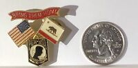 Vintage Military Collectible Bring Them Home POW Pin: America & California Flags