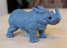 Vintage pvc figure Zoo Animal Rhinoceros Wild Animal Jungle Toy Collector Gray