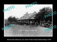 OLD LARGE HISTORIC PHOTO OF DETROIT LAKE MINNESOTA, THE NP RAILROAD DEPOT c1910