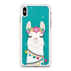 Pretty Floral Covered Snow White Adorable Alpaca Llama Animal Phone Case Cover